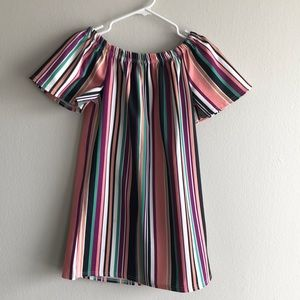 Multicolor striped off the shoulder BOOHOO dress.